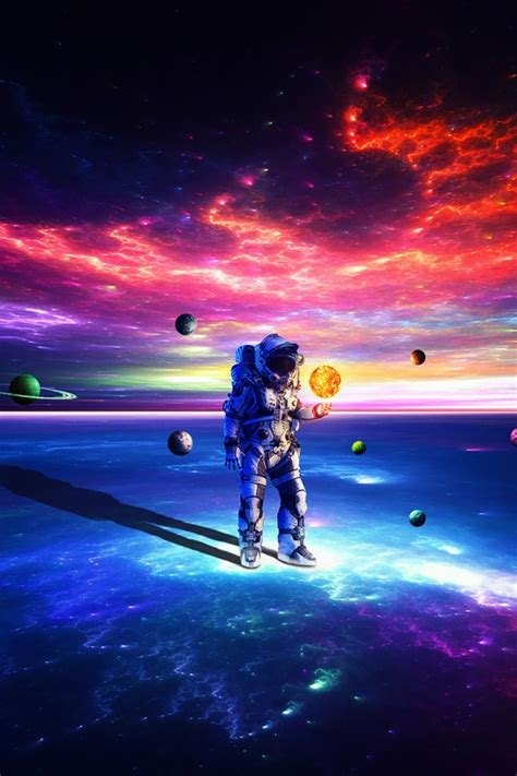 Wallpaper Astronaut, Dream, Surreal, Colorful, Planets, HD